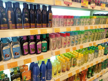 SEREMBAN, MALAYSIA -JUNE 9, 2020: Hair shampoo in plastic bottle packaging, on display for sale on the shelves in the supermarket. Sorted by the brand to make it easier for customers to choose.