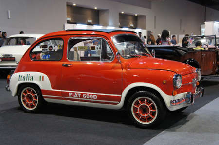 KUALA LUMPUR, MALAYSIA - NOVEMBER 26, 2018: Vintage car the FIAT 600D displayed in the huge showroom. Fiat 600D made in Italy in 1967 Redakční