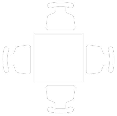 2D CAD plan drawing various sizes and designs of dining table and discussion table set complete with chairs. Drawings come in black and white. The drawing is normally drawn by an architect or interior Standard-Bild
