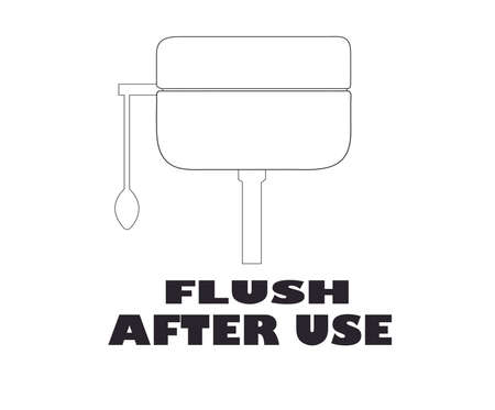 Toilet pump flush with Flush After Use text icon.