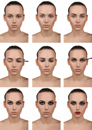 Stepping makeup, nine steps. Isolated on white. photo