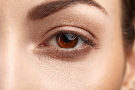 brown eye: Woman brown eye with long eyelashes Stock Photo