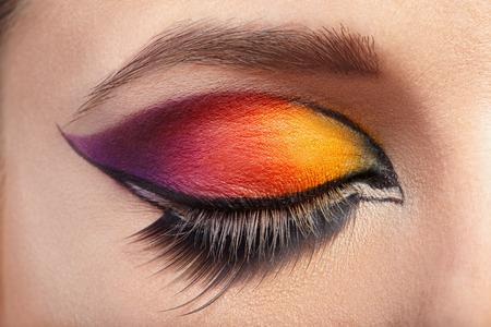 Eye Makeup. Beautiful Eyes Glitter Make-up. photo