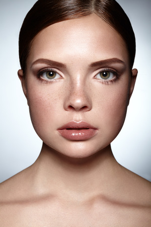 Portrait of beautiful young woman with clean face. Reklamní fotografie