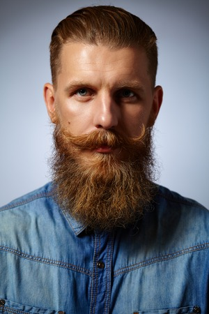 Bearded man. Portrait of a handsome man with a beard and twirled mustache.
