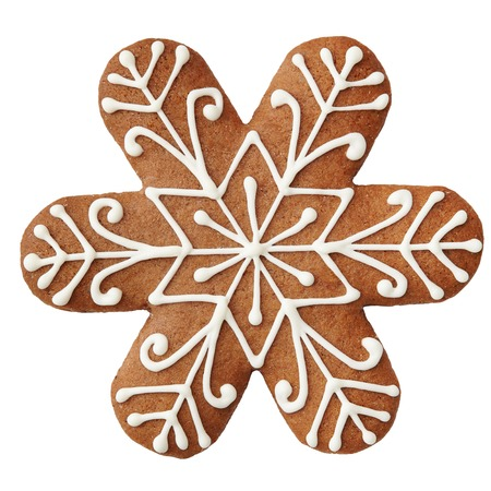 gingerbread cookie: Gingerbread cookie in snowflake shape isolated on white background. Stock Photo