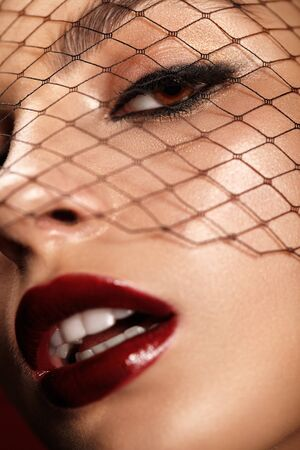 Close-up beauty portrait of attractive girl with bright red lips and black mesh on the face.