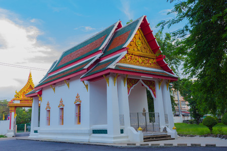 nonthaburi province: Buddhist temple of Wat Tamnak Tai  is the among old Thai temple near the river, Nonthaburi province Thailand. Stock Photo