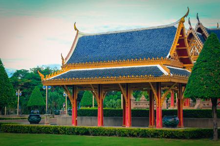 nonthaburi: The Pavilion of Chaloem Kanchanaphisek Park Nonthaburi province Thailand. Stock Photo