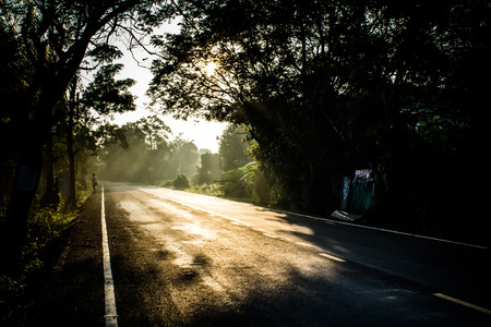 wherever: In the morning nice warming road is start of people to go wherever they want. Thailand.