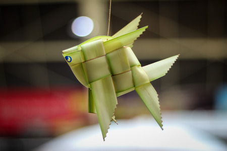 carp made by nature bamboo leaves is the one home decoration of THAI culture in Thailand. Stock Photo