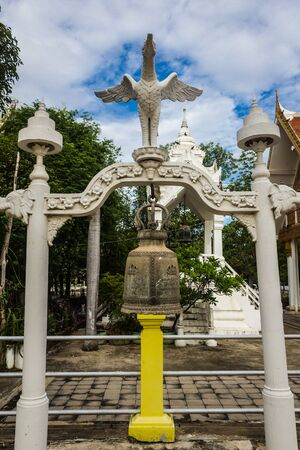 respectful: holy bell worship in Thai temple be respectful of many people. Stock Photo