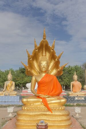 Buddha idol worship in Thai temple be respectful of many people.