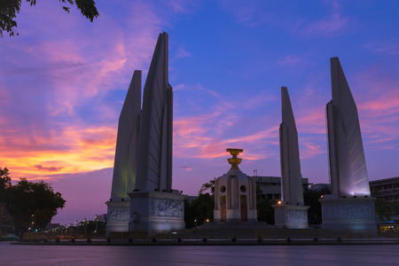 democracy Monument: democracy Monument and dramatic sunset sky. Thailand. Stock Photo
