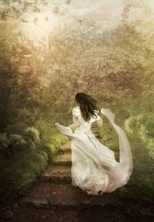 art processing: A girl in a flowering garden dreams, fantasy