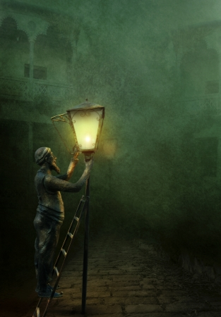 tbilisi: The lamplighter illuminates the streets in Old Tbilisi