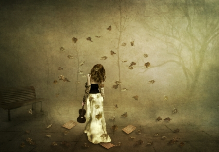 art processing: Autumn Rhapsody, a girl with a violin in the autumn park