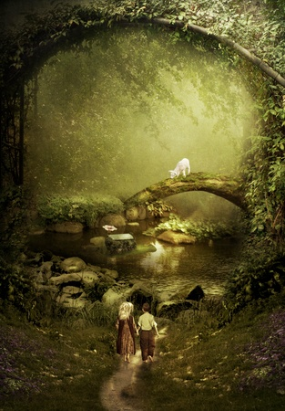 bridge in the forest: The road in fairy tale Small children in the magical forest