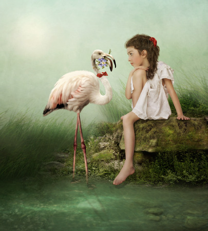 art processing: White flamingo with flowers and the little girl Stock Photo