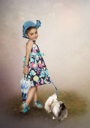art processing: The girl in the cap and the dog