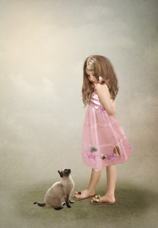 Girl and cat photo
