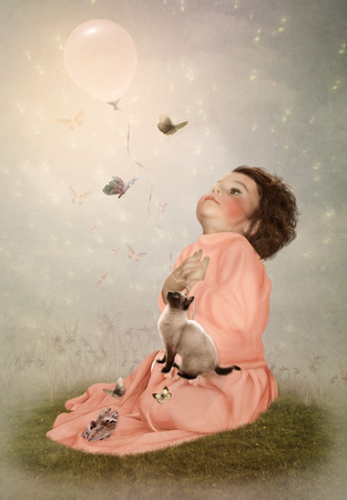 admired: The little girl in pink dress and kitten admired  of butterflies Stock Photo