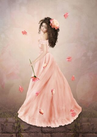 The young girl with long curly hair in the pink dress photo