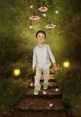 magical forest: Little boy in Magical forest