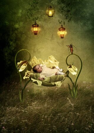 cradle: The baby in the cradle of flowers Stock Photo