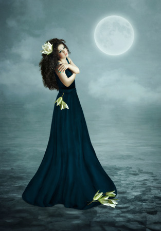 moon flower: Young girl with long hair and lilies under the moon