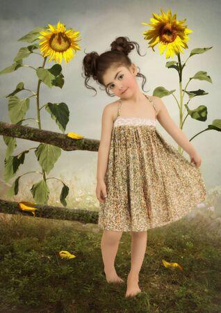 sundress: Little girl in yellow sundress in the field in sunflowers