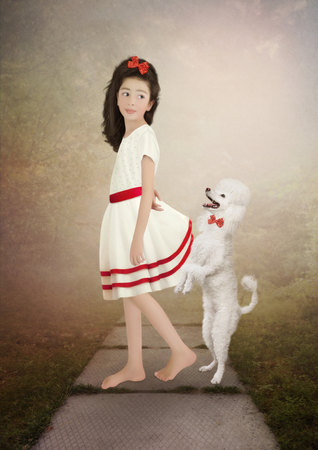children clothing: The little girl in white dress with long hair and poodle
