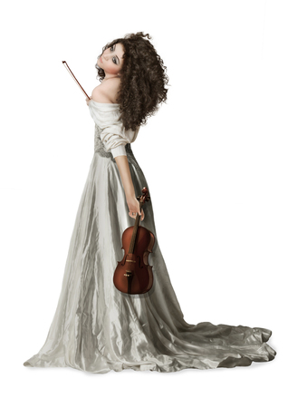 youth background: Young girl with long, curly hair with violin