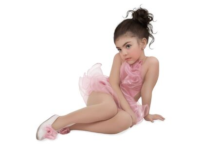 tutu: Little girl with a dreamy look in the pink tutu Stock Photo