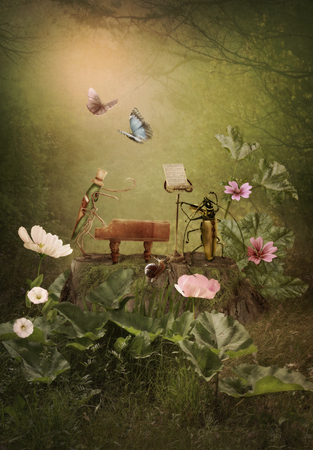 Pianist grasshopper, violinist beetle, forest concert Stock Photo