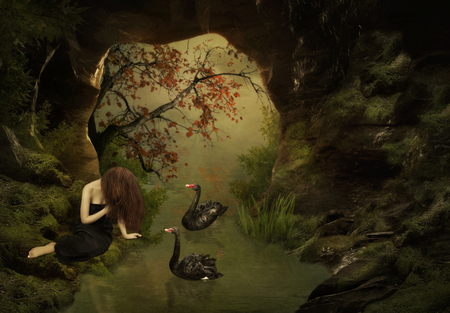 girl sitting: The young girl with long hair and black swans