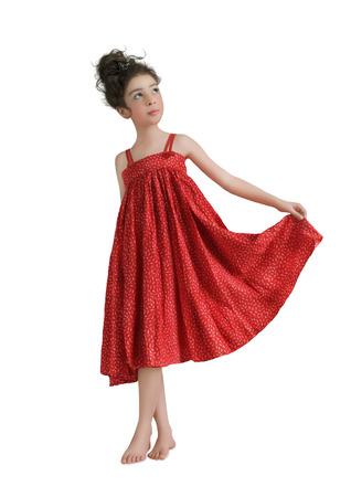 sundress: Girl in a red sundress