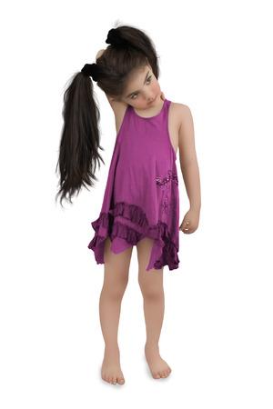 sundress: Little girl with long hair in a purple sundress Stock Photo