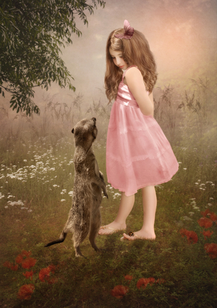 glades: Little girl and meerkat