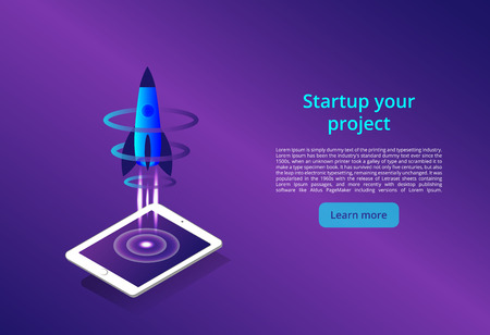 3D illustration of rocket with infographic elements and ultraviolet rays for Business Startup concept landing page design. New wireless internet wifi connection. isometric vector concept  イラスト・ベクター素材