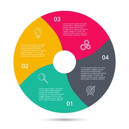 Kreis für Infografik. Vorlage für Diagramm, Grafik, Präsentation und Runddiagramm. Geschäftskonzept mit 4 Optionen, Teilen, Schritten oder Prozessen.