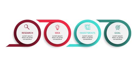 Infografik-Design-Vektor- und Marketing-Symbole für Diagramme, Grafiken, Präsentationen und Runddiagramme. Konzept mit 4 Optionen