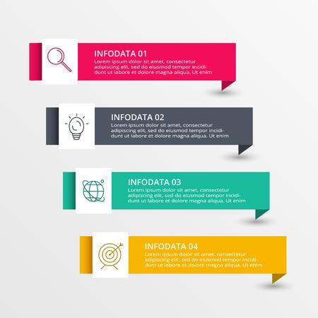Abstrakte Pfeile von Diagrammen, Diagrammen mit 4 Schritten, Optionen, Teilen oder Prozessen. Vektorgeschäftsschablone für die Präsentation. Kreatives Konzept für Infografik. Geschäftskonzept Vektorgrafik