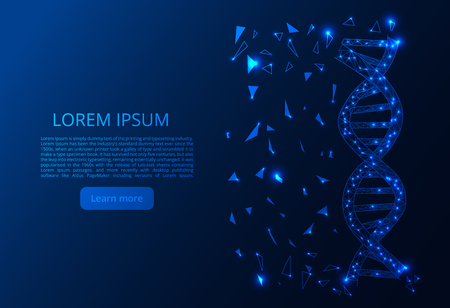 Glow glitter DNA point scales on dark background with dots color blue effects. Polygonal DNA concept. Vector mesh spheres from flying debris.