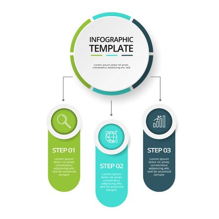 3 steps infographic template. Business concept infographic can be used for workflow layout, diagram, number options, progress, timeline Ilustração