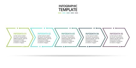 Thin line element for infographic. Template for diagram, graph, presentation and chart. Business concept with 5 options, parts, steps or processes. Data visualization. Standard-Bild - 128582116