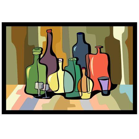 curvas de botellas coloridas en un fondo coloreado