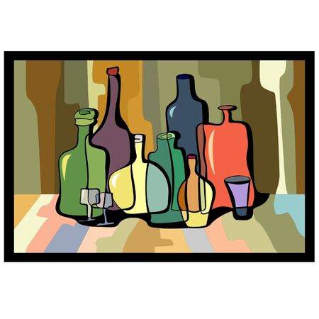 curves of colorful bottles on a colored background