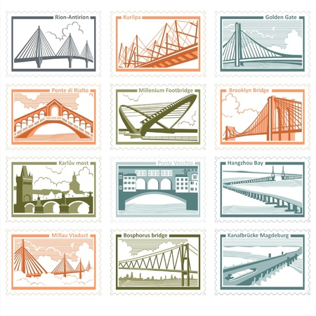 postage stamp frame: The collection of stamps with the image of 12 famous bridges in the world illustration Illustration