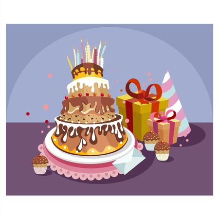 A tray with a birthday cake and birthday gifts Vector